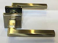 Ручка раздельная на квадратной розетке Mongoose H-893 AB (бронза)