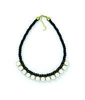 Ожерелье жемчуг на черной нити 45см