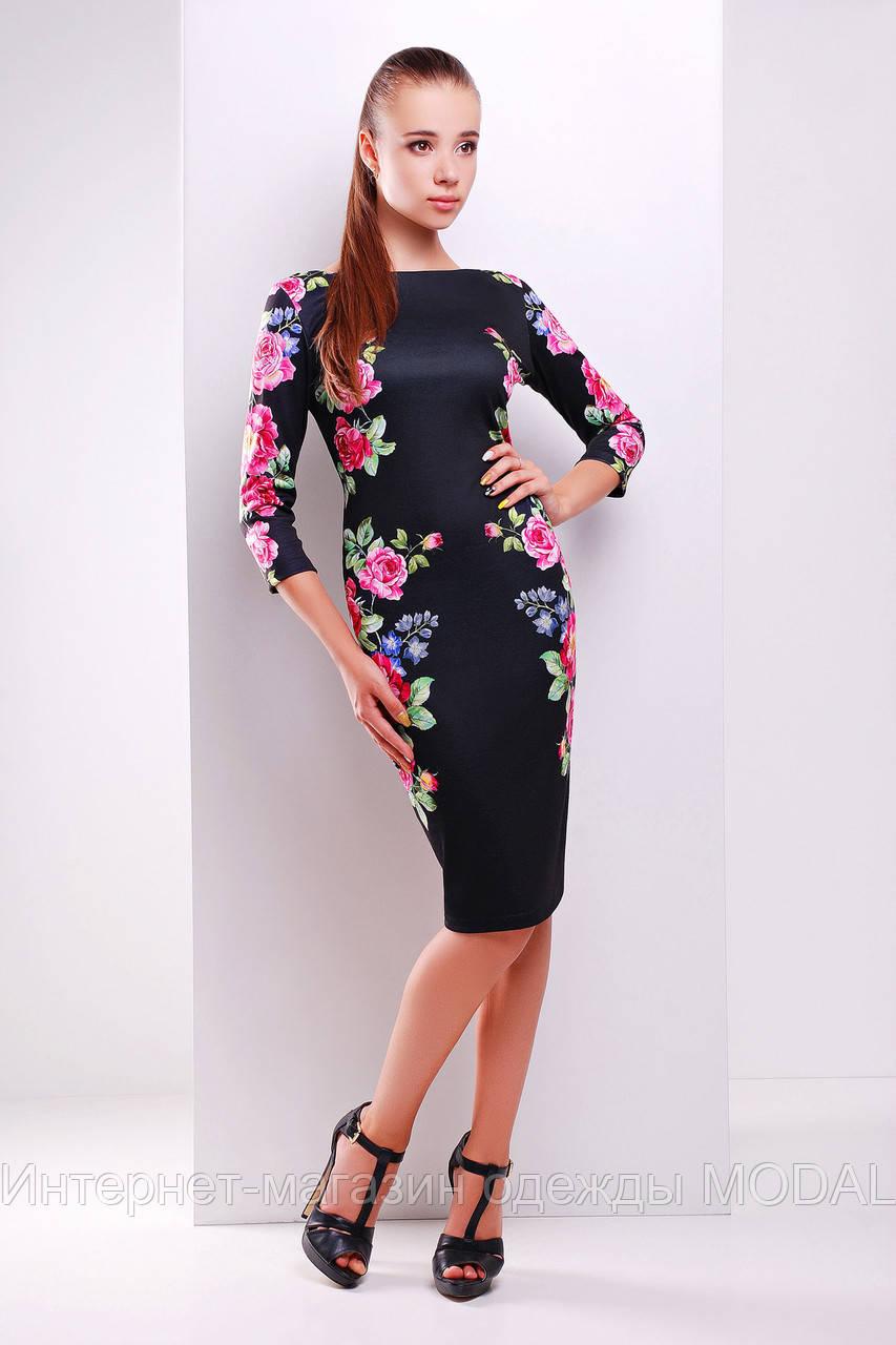8fe43690d90 Черное платье-футляр с рукавом три четверти и цветочным принтом -  Интернет-магазин одежды