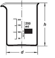 Стакан низкие с носиком и градуировкой BORO 3,3