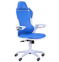 Кресло Racer к/з синий/каркас белый