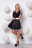 Нарядное черное платье с белым поясом