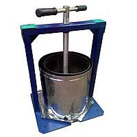 Ручной пресс для винограда 15л: корзина нержавеющая сталь, винтовой поршень, 21,5 кг