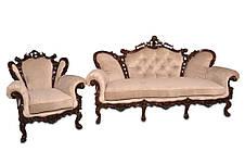 Кожаное кресло с резьбой Элия (90 см), фото 3