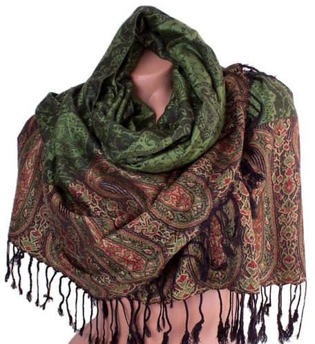 Изысканный женский двусторонний палантин из пашмины 175 на 68 см ETERNO (ЭТЕРНО) ES0206-2-green-black зеленый