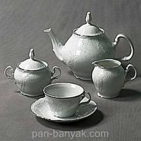 Bernadotte (Обводка платина) Чайный сервиз на 6 персон 17 предметов 205мл фарфор Thun