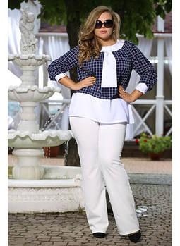 Женская блуза рукав 3/4 Злата цвет белый вместо клетки цветочки мелкие / размер 72