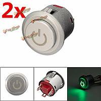 2шт 12в 22мм LED autolock власть кнопка включения/выключения на зеленый