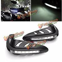 22см мотоцикла руль руки охранников протектор белый LED сигнальная лампа