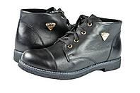Женские ботинки осенние на флисе mida 22068ч черные   весенние , фото 1