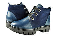 Женские ботинки осенние на флисе кожаные с замшевыми вставками mida 22122н.син синие   весенние