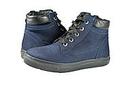 Женские спортивнык ботинки осенние на флисе кожаные с замшевыми вставками mida 22140н.син синие   ве