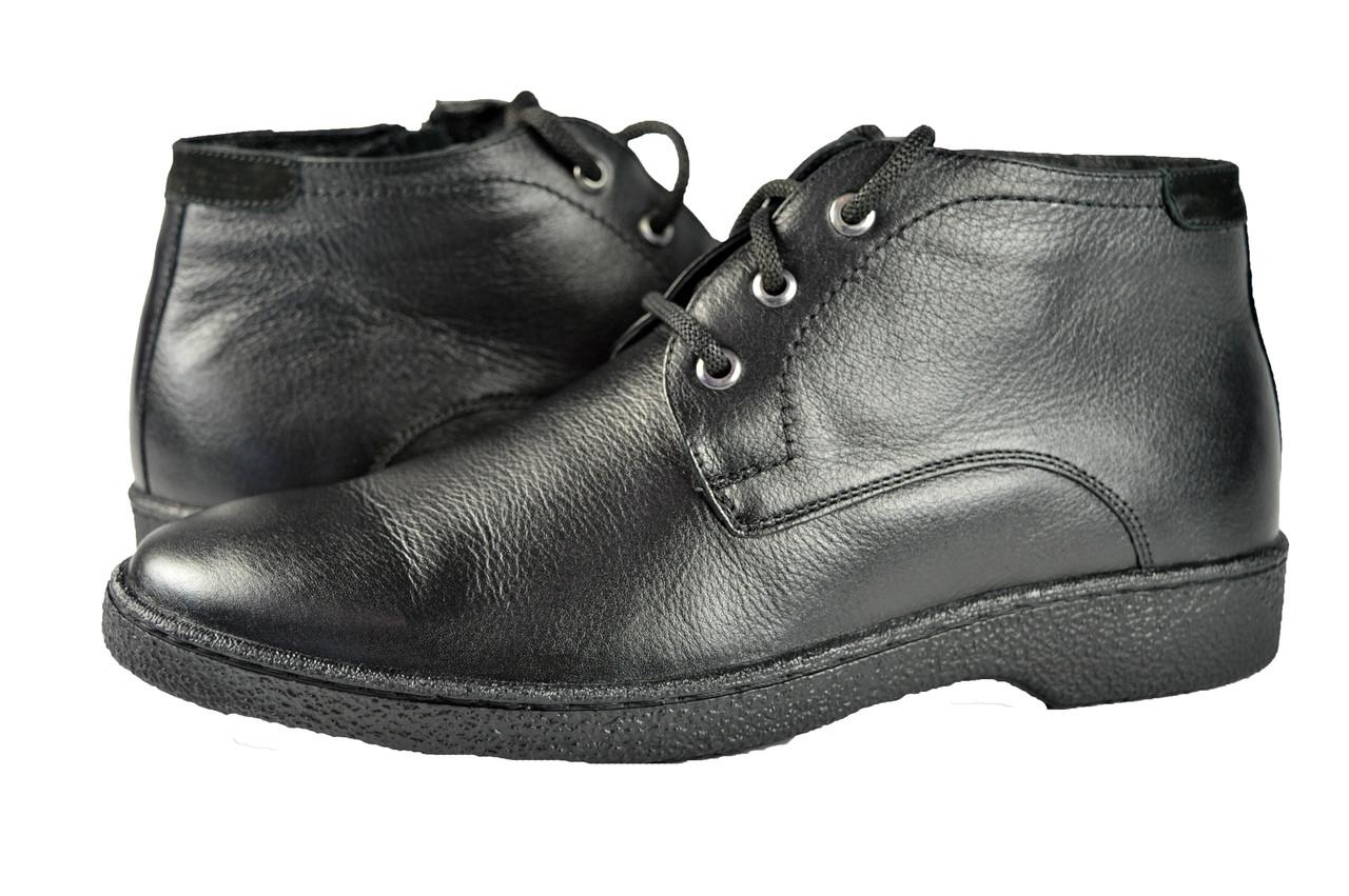 2bce9a12e Мужские ботинки осенние на флисе кожаные mida 12162ч черные весенние -  Магазин обуви