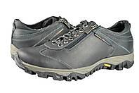 Мужские кроссовки из натуральной кожи mida 11528ч черные   весенние