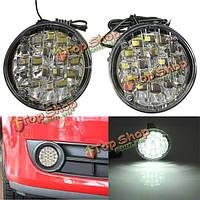 12v 18 LED белый круглый вождение автомобиля дневного света противотуманных фар