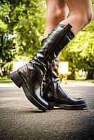 Сапоги кожаные черного цвета   на узкую ногу
