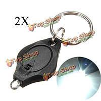 2X Mini LED Свет факела ключ брелок-фонарик для кемпинга пешие прогулки черный