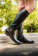 Сапоги кожаные черного цвета