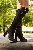 Ботфорты замшевые черного цвета на высоком устойчивом каблуке