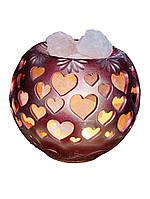 Соляной светильник Шар-сердце (керамика) 4кг