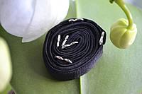 Бретельки для бюста тканевые черные с металлическими крючками