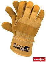 Защитные перчатки усиленные с бычий кожы (перчатки кожаные рабочие) GOLDENY YY