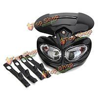 12 35w мотоцикл новый глава легких обтекатель спорта светодиодные лампы освещения Street Fighter черный H/L света