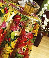 Клеёнчатая скатерть на стол Люкс Весенний Букет