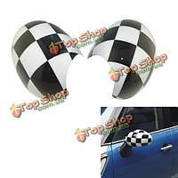 Черный белый квадрат боковое зеркало покрытие для Mini Cooper земляк по эксплуатации г серии ABS 2pcs