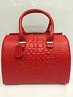 Женский кожаный саквояж Gelisha с тиснением под крокодила, красный