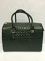 Женский кожаный саквояж Gelisha с тиснением под крокодила, зеленый