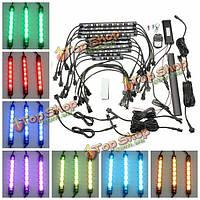 10шт водонепроницаемый RGB LED гибкий неон полосы света комплект для мотоциклов авто ATV