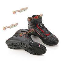 Телячья кожа мотоцикл спортивные туфли верхом ботинки с валкодером шнурков рАРО