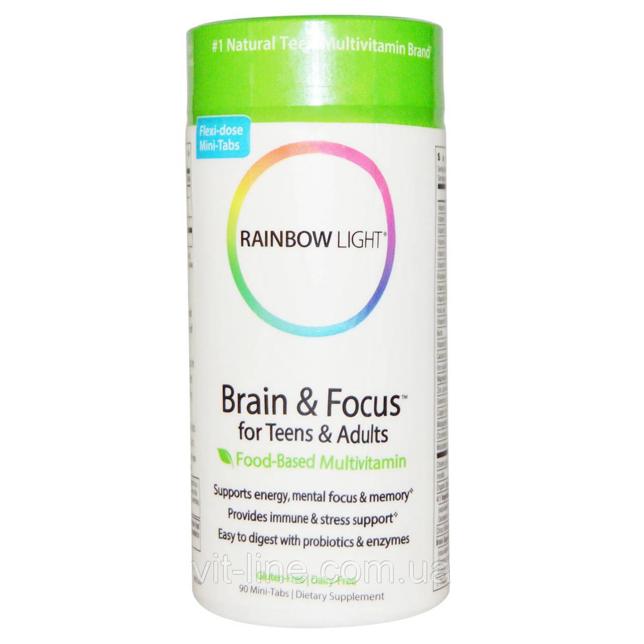 Rainbow Light, Brain & Focus для детей и взрослых, пищевой мультивитаминный комплекс, 90 мини таблет