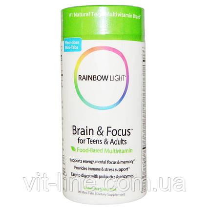 Rainbow Light, Brain & Focus для детей и взрослых, пищевой мультивитаминный комплекс, 90 мини таблет, фото 2