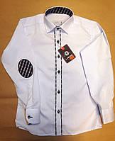 Рубашка  белая с вставками для мальчика 6-9 лет