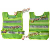 2шт светоотражающий зеленый жилет безопасности дорожного движения сетки полосами жилет