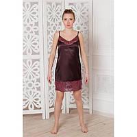 Сорочка атлас до колен с кружевом коричневая
