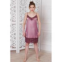 Сорочка атлас до колен с кружевом розовая