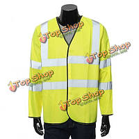 Мужская с длинным рукавом жилет жилет куртка со светоотражающими полосками