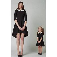 Платье школьное трикотажное с белым воротничком и манжетиками 116-187см рост Для любого размера
