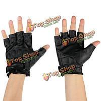 Мотоцикл половина спортивных состязаний перчаток пальца из искусственной кожи черный l xl