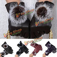 Женщины озимой мягкой PU кожаный рукавица тепло вождения перчатки