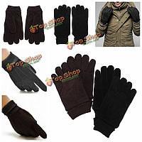 Мужчины зимние вязаные перчатки вождения мягкий полный палец теплее