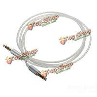 Автомобиль AUX стерео между мужчинами аудио ПТФЭ обновления тефлоновым покрытием кабеля серебра 3 полюс 3.5 мм 1м