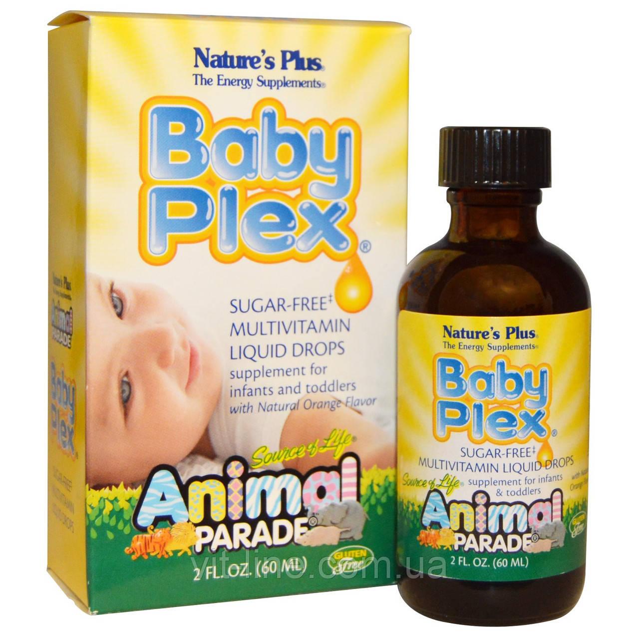 Мультивитамины для детей жидкие с натуральным вкусом апельсина (60 мл).Nature's Plus, Baby Plex