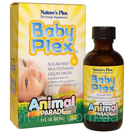 Мультивитамины для детей жидкие с натуральным вкусом апельсина (60 мл).Nature's Plus, Baby Plex, фото 2