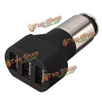 Близкий sc110 три USB автомобильный адаптер зарядное устройство портативное металлической щеткой 5В 5а