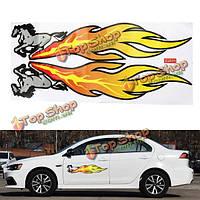 47x20мм пвх 2d автомобиля стикер украшение лошадь рисунок пламени украшение деколи модификация