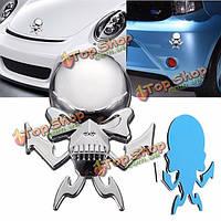 3D автомобиль наклейки серебро череп авто логотип мотоцикл эмблема значок капот деколь Этикетка